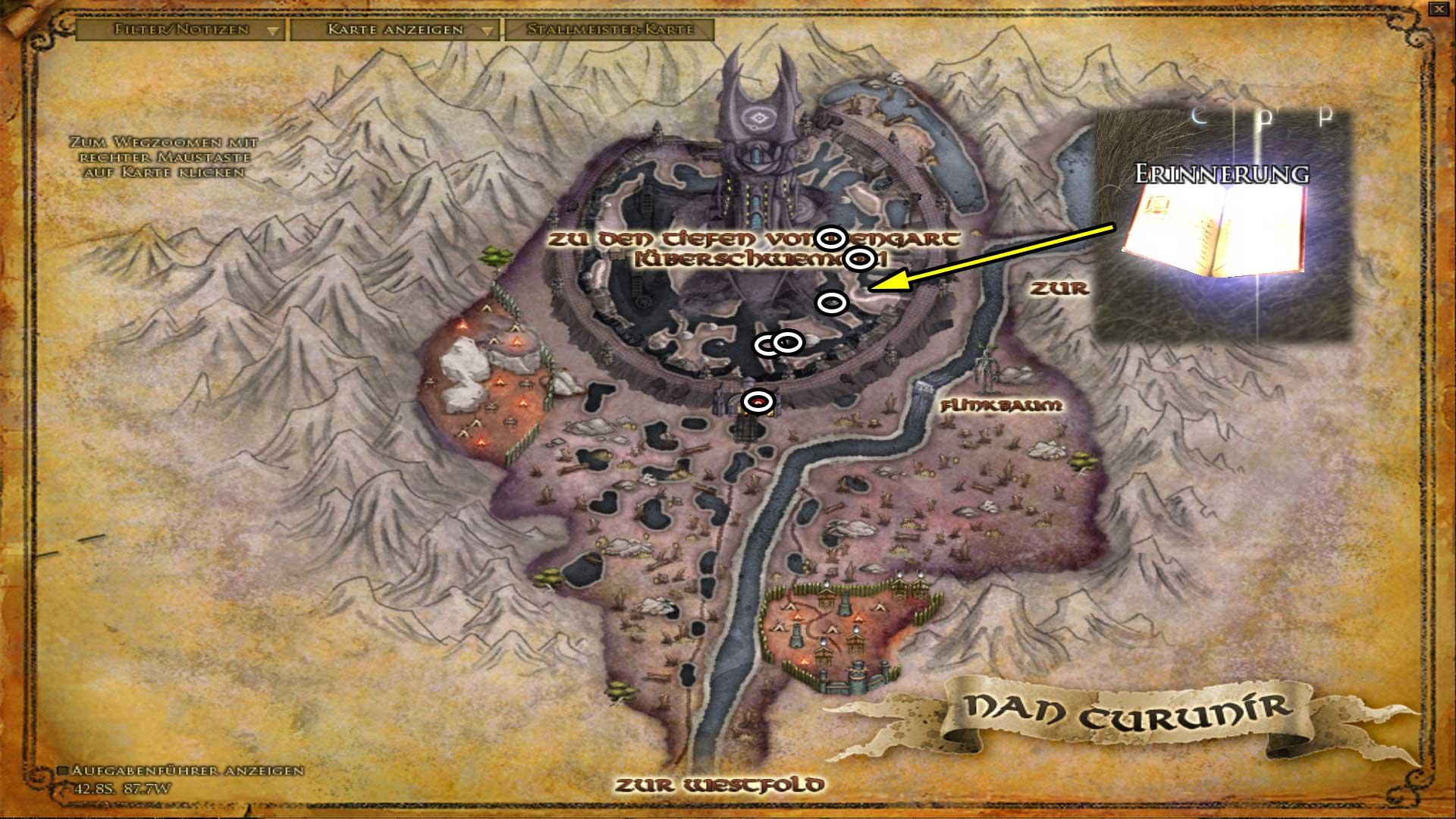 Erinnerungen in Isengard (Karte anklicken zum vergrößern)