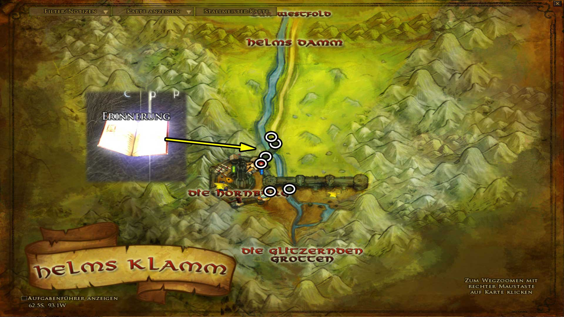 Erinnerungen in Helms Klamm (Karte anklicken zum vergrößern)